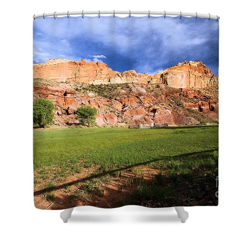 Capitol Reef National Park Shower Curtain featuring the photograph Fruita Historic District by Adam Jewell