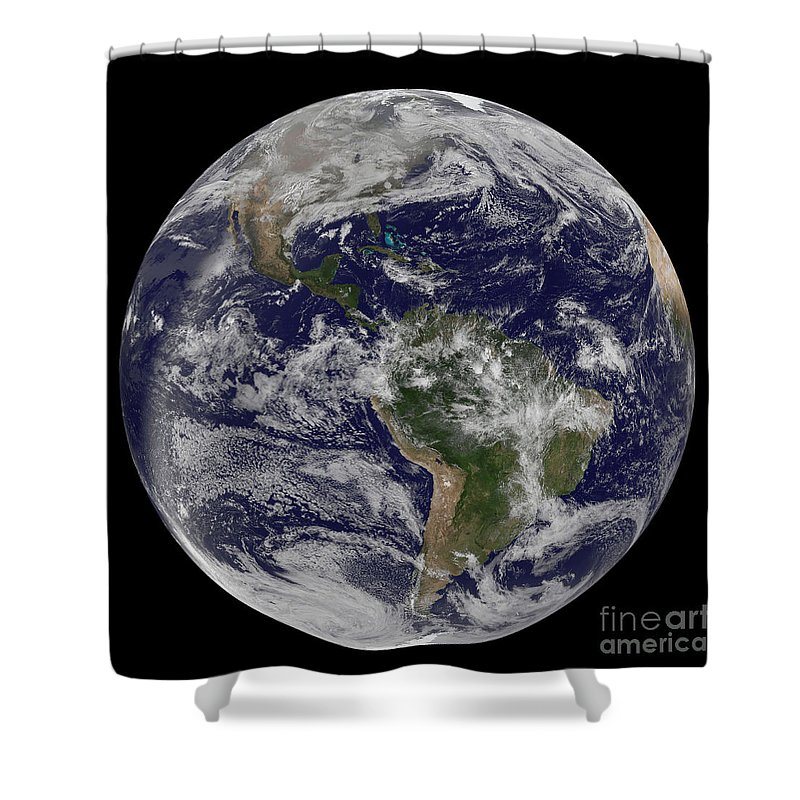 Whole Shower Curtain featuring the photograph Full Earth Showing North America by Stocktrek Images