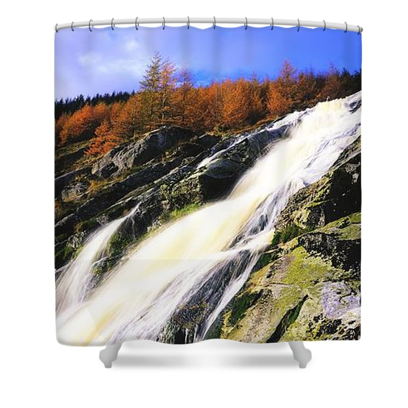 Cliff Shower Curtain featuring the photograph Glenmacnass Waterfall, Co Wicklow by The Irish Image Collection