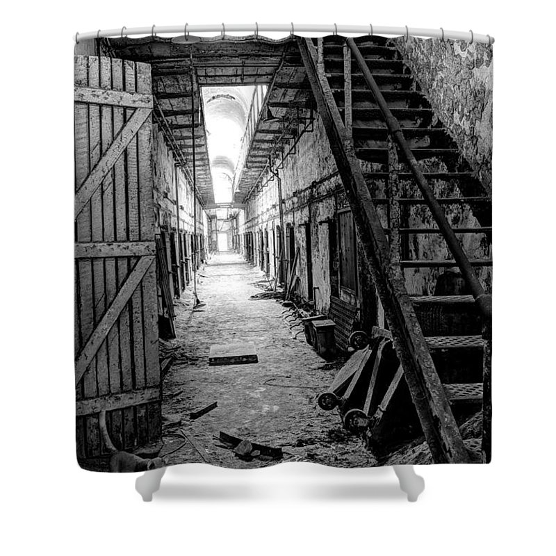 Al Shower Curtain featuring the photograph Grim Cell Block In Philadelphia Eastern State Penitentiary by Gary Whitton