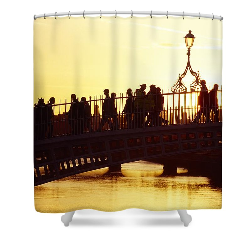 Bridge Shower Curtain featuring the photograph Hapenny Bridge, Dublin, Co Dublin by The Irish Image Collection