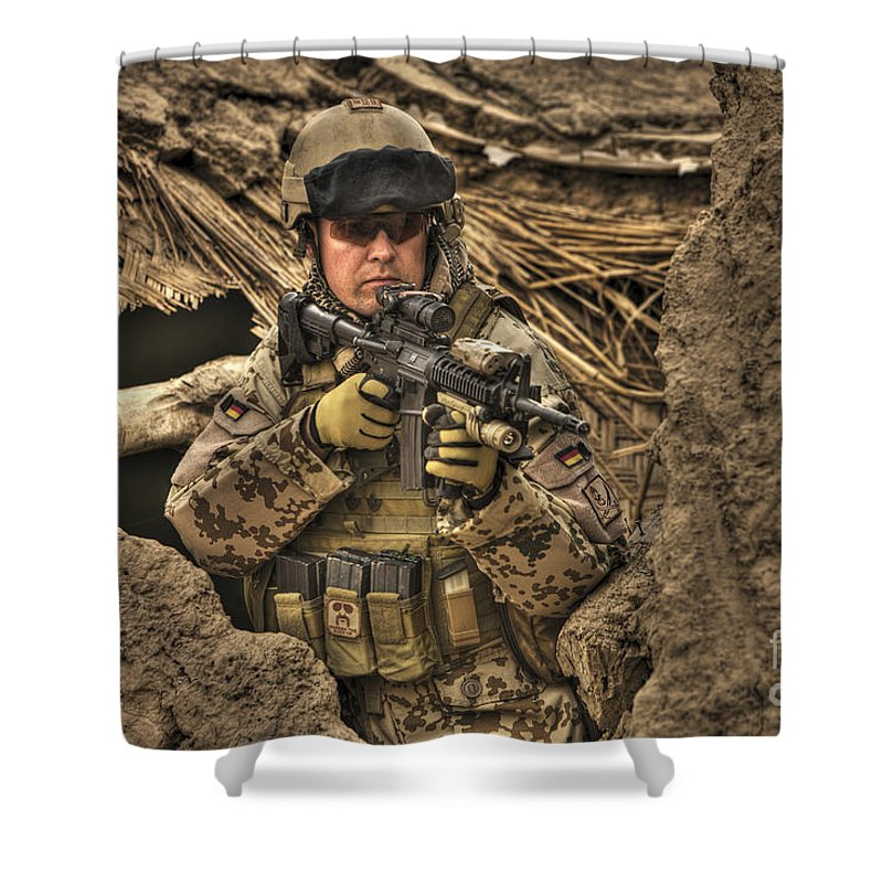 Operation Enduring Freedom Shower Curtain featuring the photograph Hdr Image Of A German Army Soldier by Terry Moore