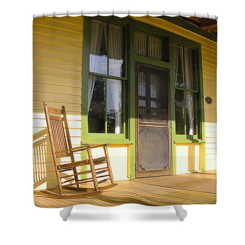 Yellow Shower Curtain featuring the photograph Hot Seat by Peggy Starks