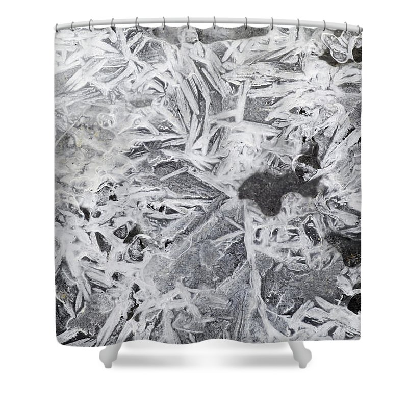 Light Shower Curtain featuring the photograph Ice Patterns On Pond, Alberta Canada by Darwin Wiggett