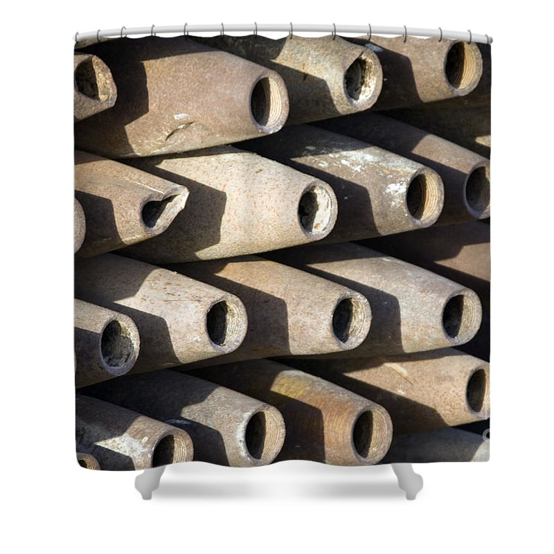 Disposal Shower Curtain featuring the photograph Inert Artillery Shells Are Stacked by Terry Moore