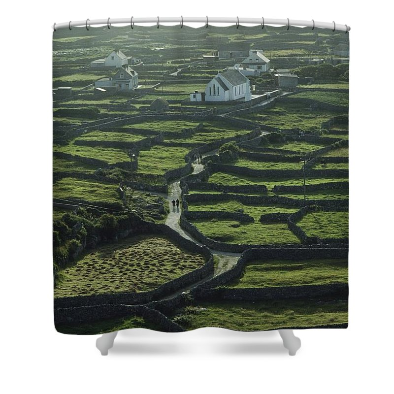 Background People Shower Curtain featuring the photograph Inisheer, Aran Islands, Co Galway by The Irish Image Collection