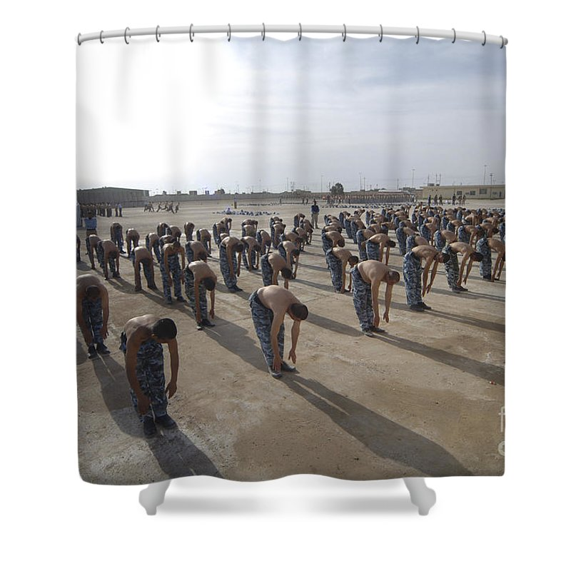 Police Officers Shower Curtain featuring the photograph Iraqi Police Cadets Being Trained by Andrew Chittock