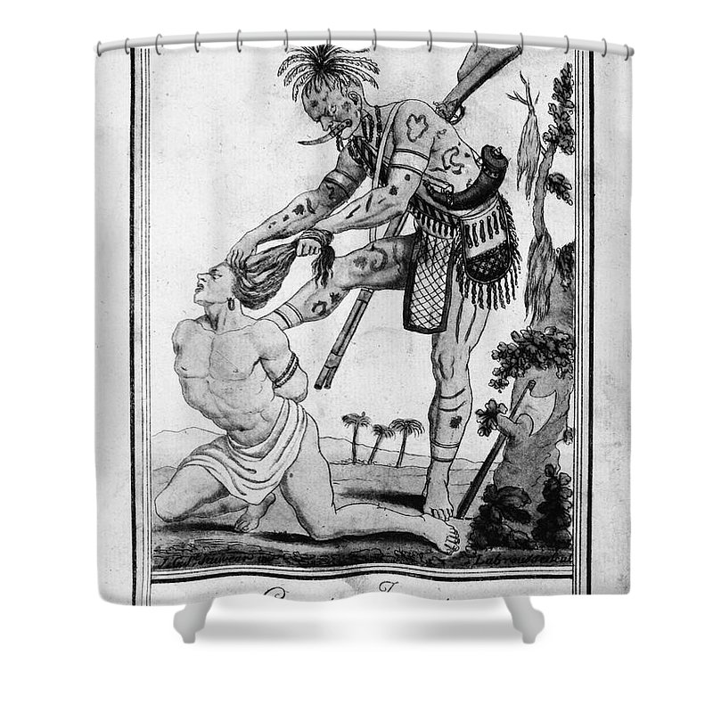 1796 Shower Curtain featuring the photograph Iroquois Warrior by Granger