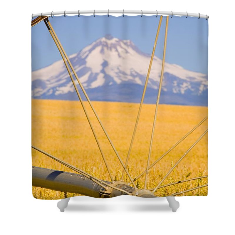 Close-up Shower Curtain featuring the photograph Irrigation Pipe In Wheat Field With by Craig Tuttle