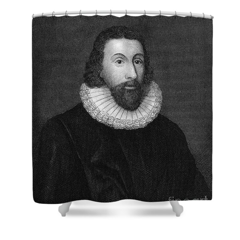 16th Century Shower Curtain featuring the photograph John Winthrop (1588-1649) by Granger