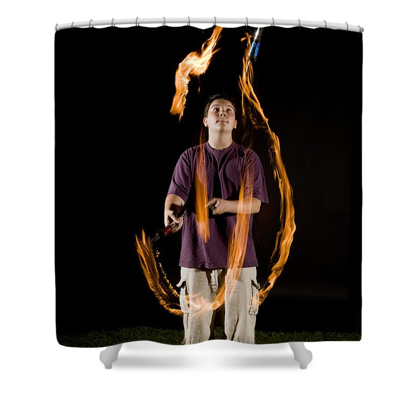 Flame Shower Curtain featuring the photograph Juggling Fire by Ted Kinsman