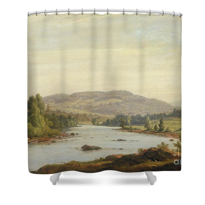 Landscape With River Scene In Northern New York Shower Curtain Featuring The Painting