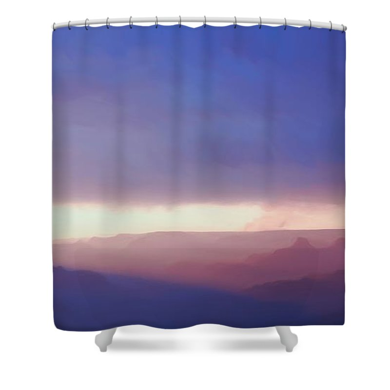 Purple Shower Curtain featuring the photograph Last Light Of Day by Heidi Smith