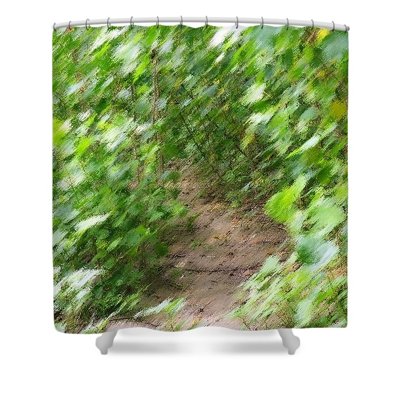 Photo Shower Curtain featuring the digital art Let's Go For A Walk by Rhonda Barrett