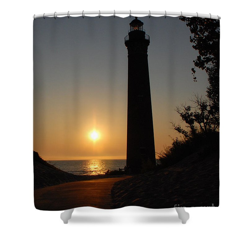 Lighthouse Shower Curtain featuring the photograph Little Sable Point Lighthouse by Grace Grogan