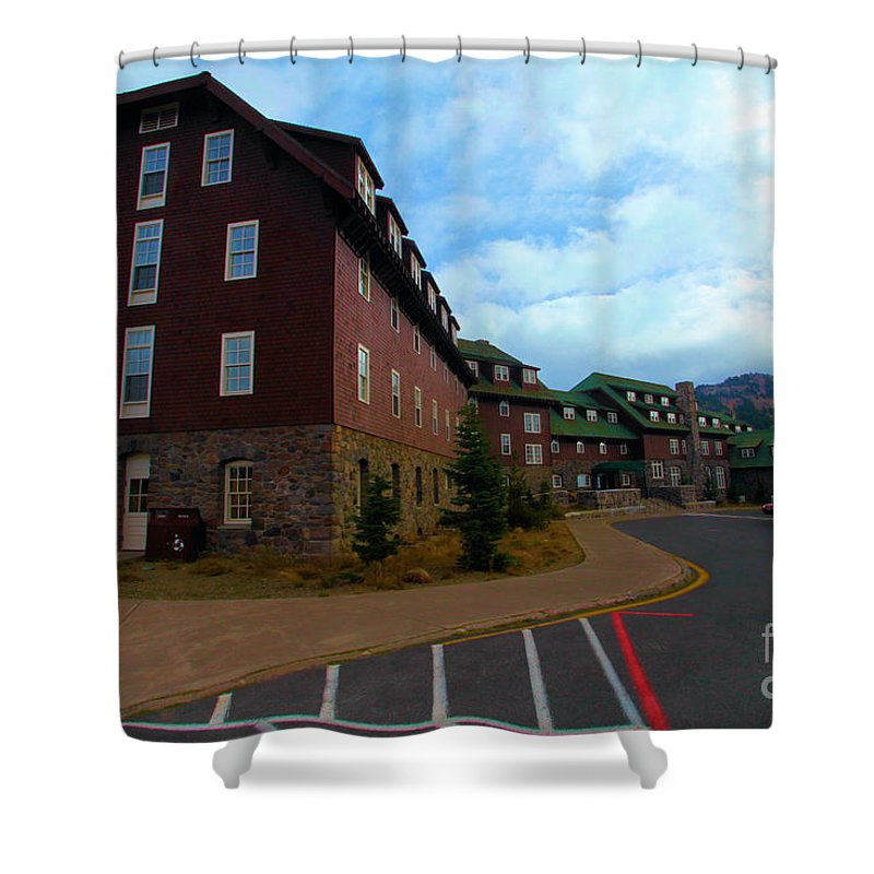 Crater Lake National Park Shower Curtain featuring the photograph Lodge On The Crater by Adam Jewell