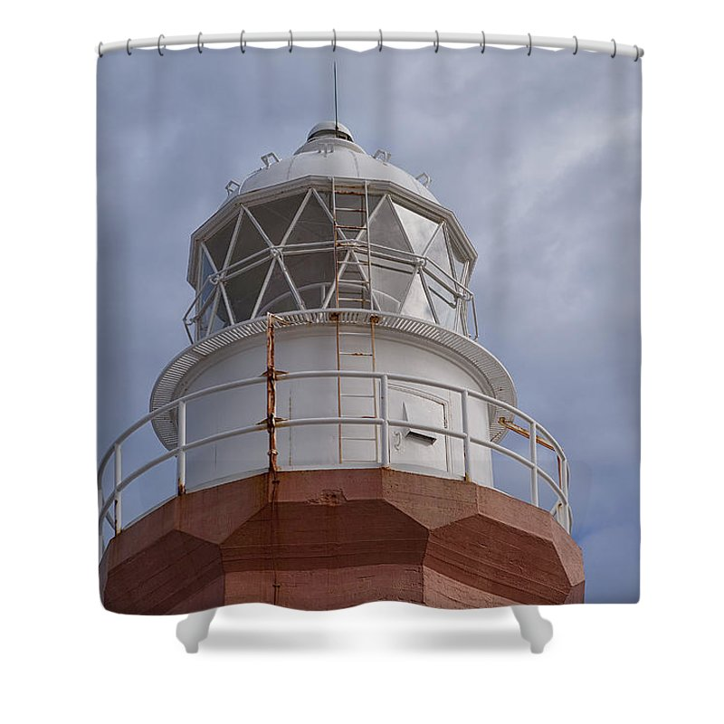 Lighthouse Beacon long Point Red White Sky Ocean Maritime Newfoundland crow Head Twillingate twillingate Island Shower Curtain featuring the photograph Long Point Lighthouse by Eunice Gibb
