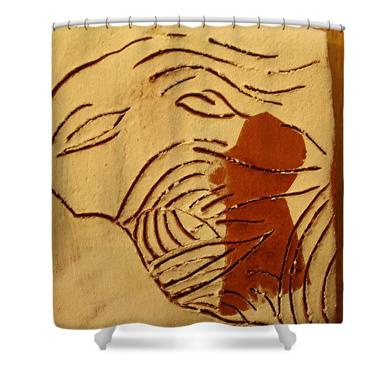 Jesus Shower Curtain featuring the ceramic art Lost - Tile by Gloria Ssali
