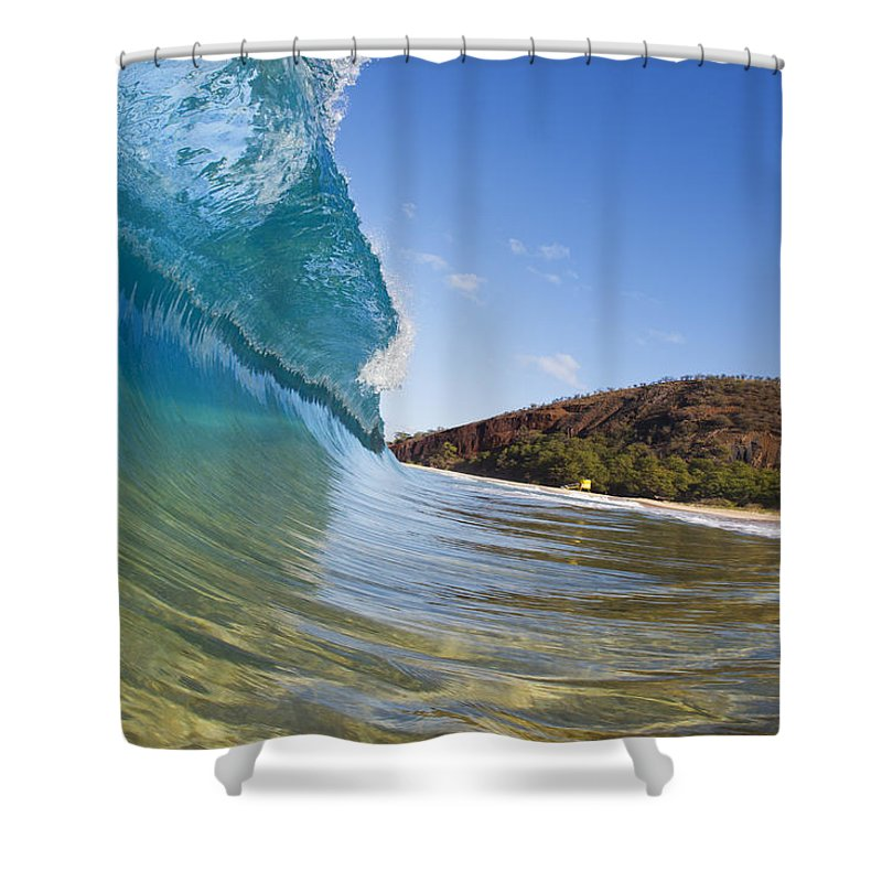 Amazing Shower Curtain featuring the photograph Makena Wave by MakenaStockMedia - Printscapes