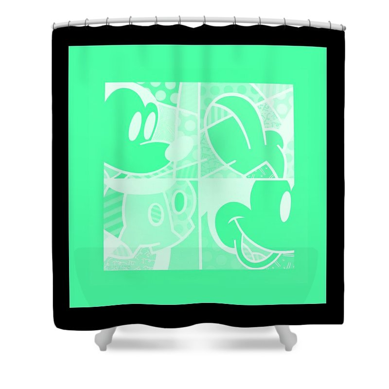 Mickey Mouse Shower Curtain featuring the photograph Mickey In Negative Light Green by Rob Hans