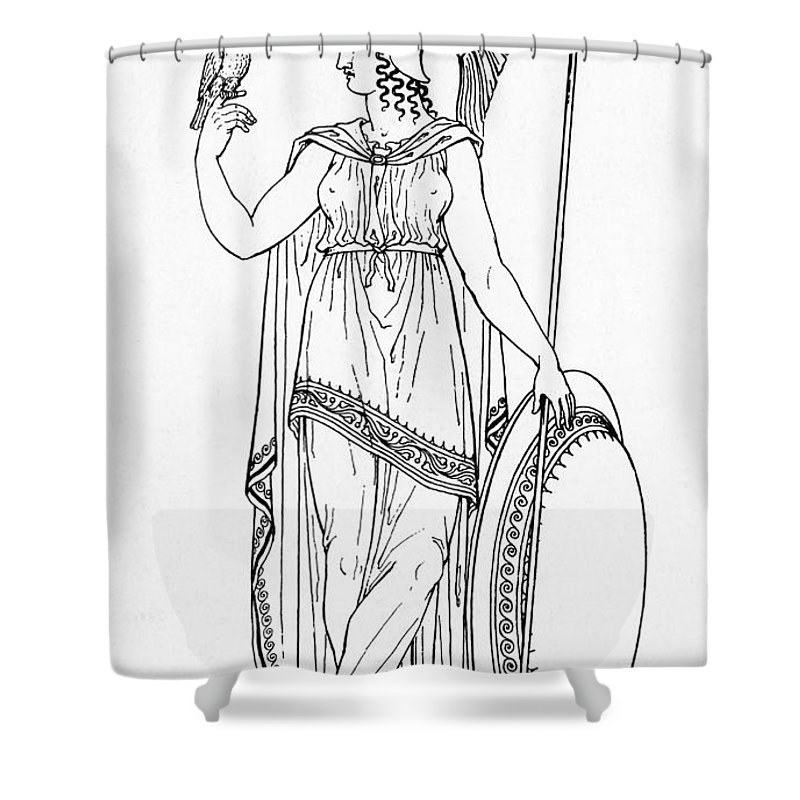 Medical Shower Curtain Featuring The Photograph Minerva Roman Goddess Of Medicine By Photo Researchers