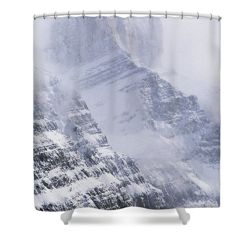 Light Shower Curtain featuring the photograph Mt. Chephren, Banff National Park by Darwin Wiggett
