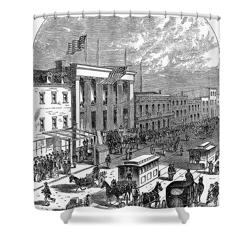 1871 Shower Curtain featuring the photograph New York: The Bowery, 1871 by Granger