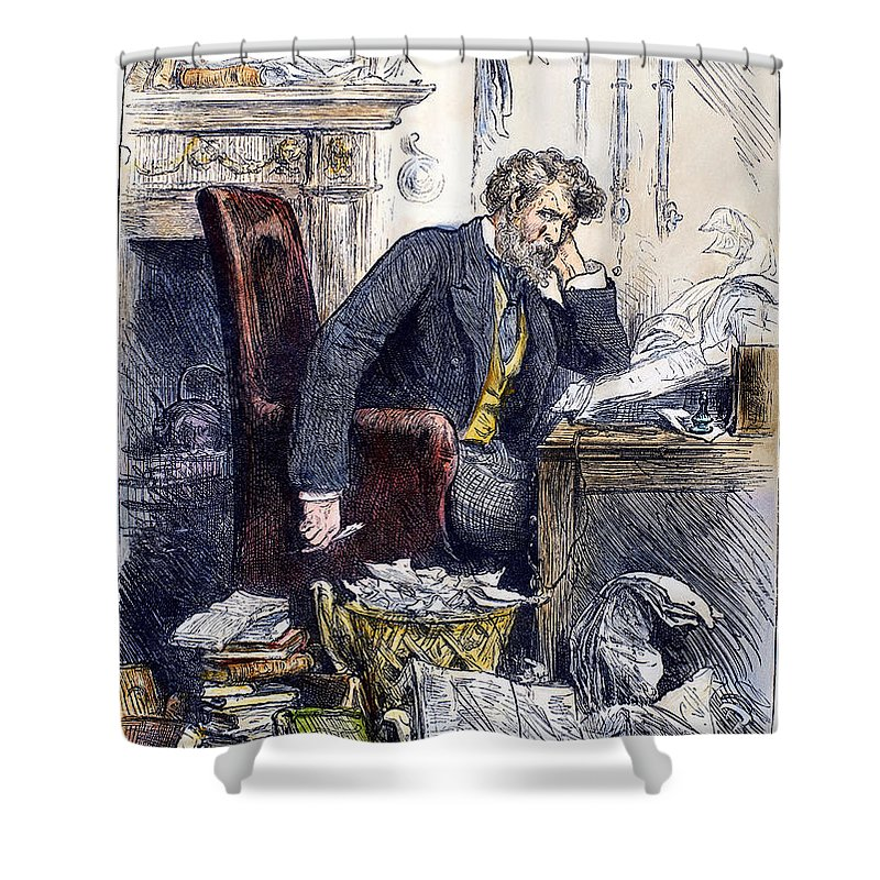1880 Shower Curtain featuring the photograph Newspaper Editor, 1880 by Granger