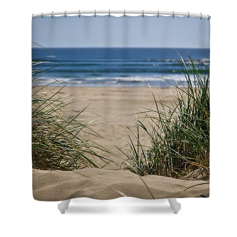 Sand Dunes Shower Curtain featuring the photograph Ocean View With Sand by Athena Mckinzie