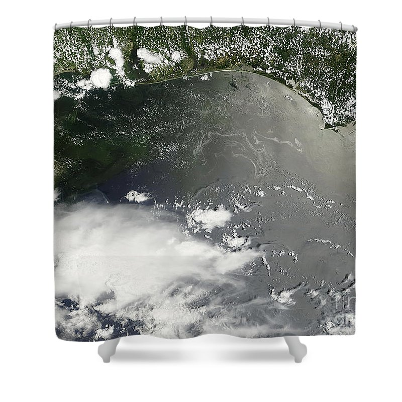 Usa Shower Curtain featuring the photograph Oil Slick In The Gulf Of Mexico by Stocktrek Images