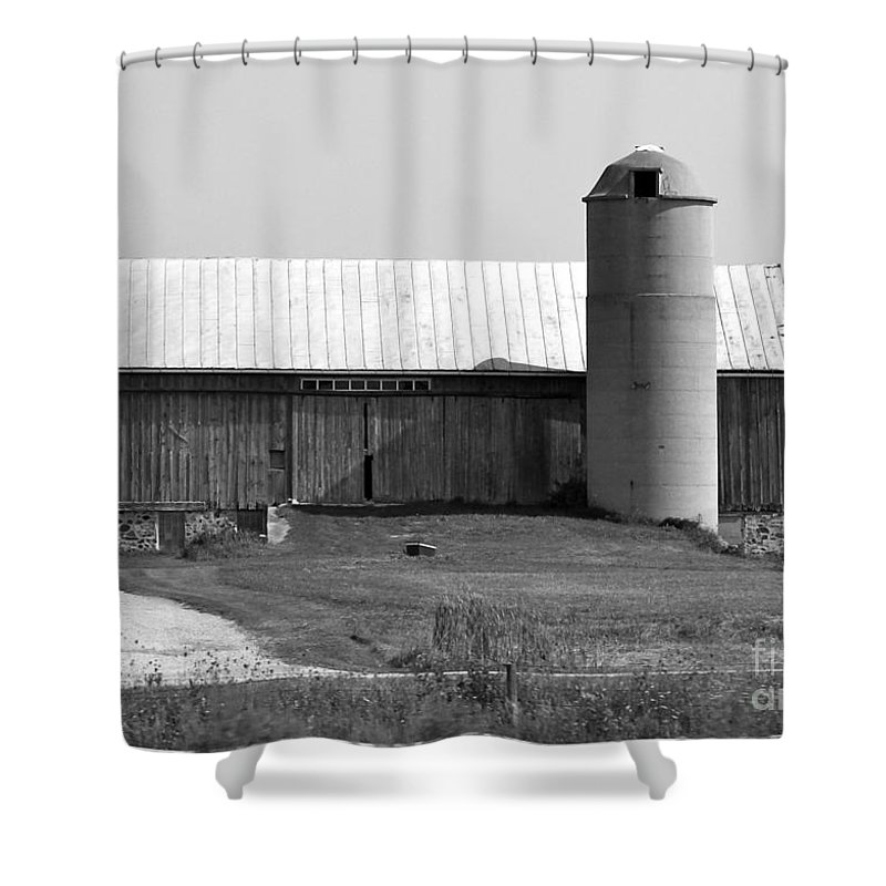Old Barn And Silo Shower Curtain featuring the photograph Old Barn And Silo by Pamela Walrath