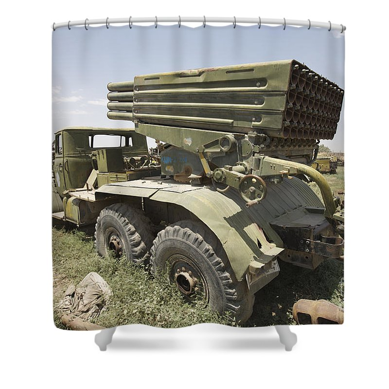 Army Shower Curtain featuring the photograph Old Russian Bm-21 Launch Vehicle by Terry Moore