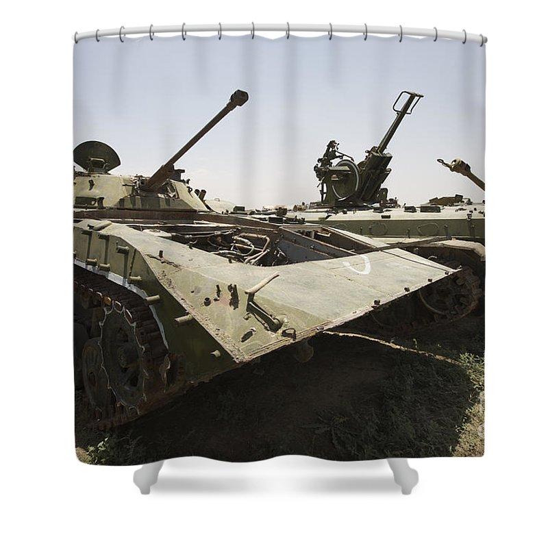 Relic Shower Curtain featuring the photograph Old Russian Bmp-1 Infantry Fighting by Terry Moore
