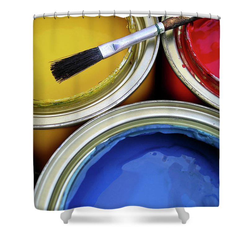 Art Shower Curtain featuring the photograph Paint Cans by Carlos Caetano