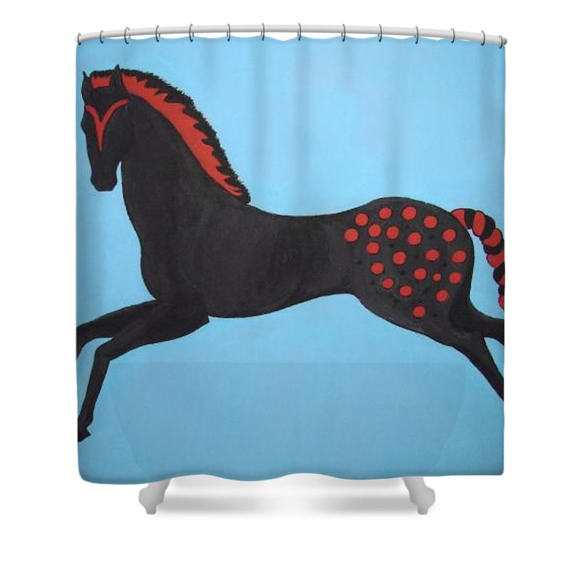 Horse Shower Curtain featuring the painting Painted Pony by Stephanie Moore