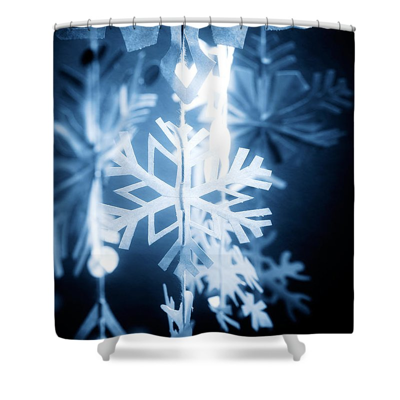 Abstract Shower Curtain featuring the photograph Paper Snowflake by Kati Finell