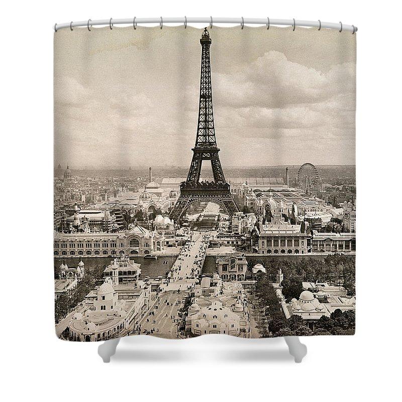 1900 Shower Curtain Featuring The Photograph Paris Eiffel Tower By Granger