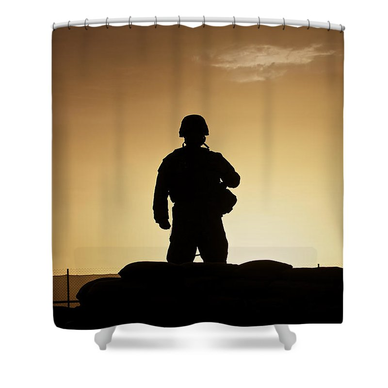 Afghanistan Shower Curtain featuring the photograph Partially Silhouetted U.s. Marine by Terry Moore