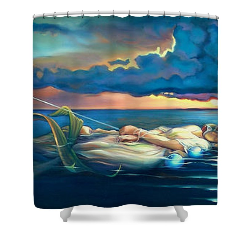 Mermaid Shower Curtain featuring the painting Pavane For A Dead Princess by Patrick Anthony Pierson