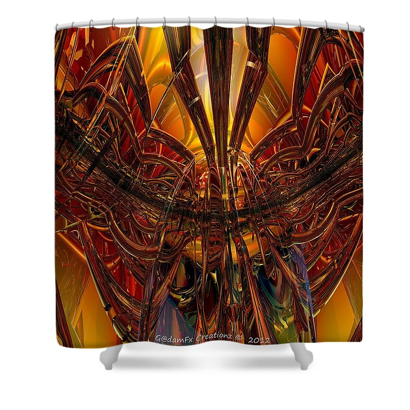 Canvas Shower Curtain featuring the digital art Peacock Feather Microscope View Fx by G Adam Orosco