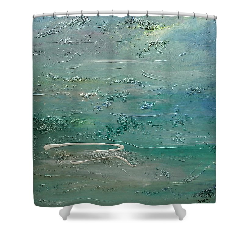Pearls Of Tranquility Shower Curtain featuring the painting Pearls Of Tranquility by Dolores Deal