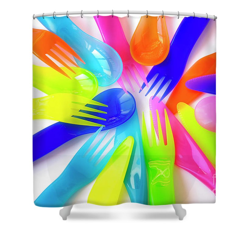 Baby Shower Curtain featuring the photograph Plastic Cutlery by Carlos Caetano