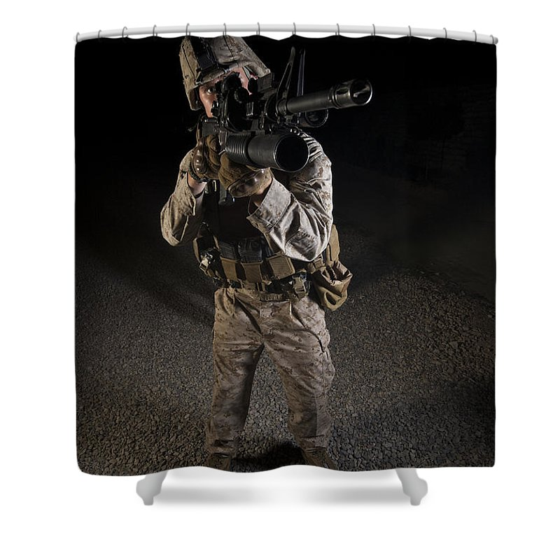 Night Shower Curtain featuring the photograph Portrait Of A U.s. Marine In Northern by Terry Moore