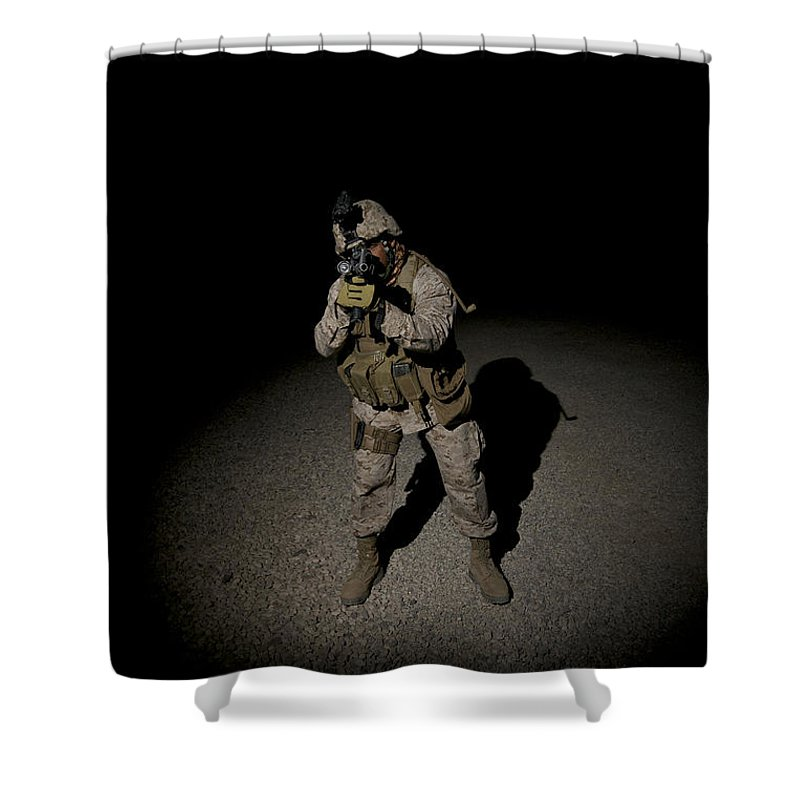 Operation Enduring Freedom Shower Curtain featuring the photograph Portrait Of A U.s. Marine by Terry Moore