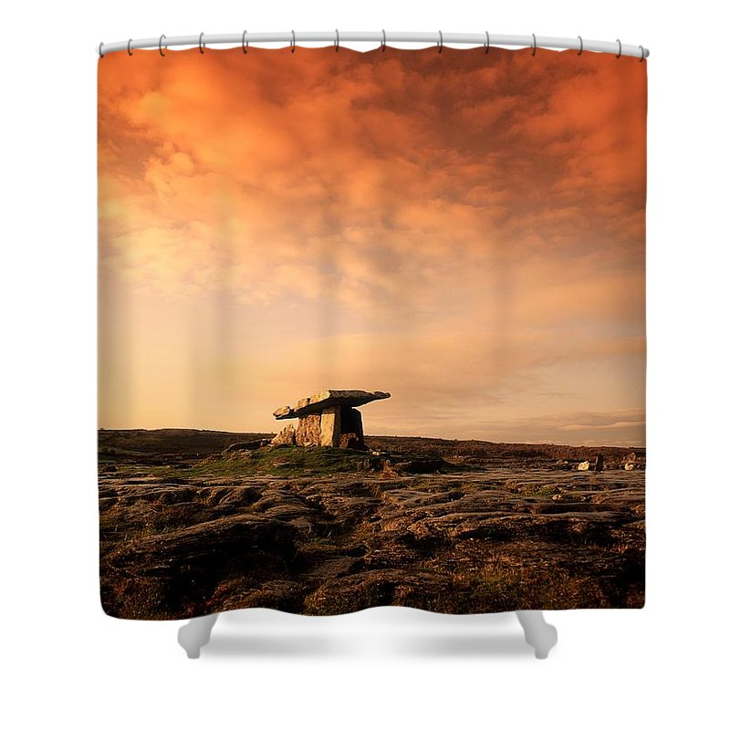 Archeology Shower Curtain featuring the photograph Poulnabrone Dolmen, The Burren, Co by The Irish Image Collection