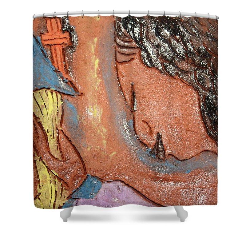 Jesus Shower Curtain featuring the ceramic art Prayer 26 - Tile by Gloria Ssali