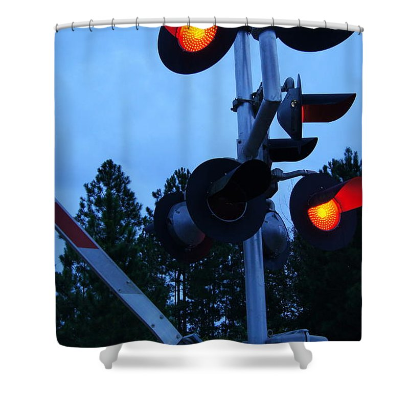 Railroad Shower Curtain featuring the photograph Railroad Crossing by Paul Wilford