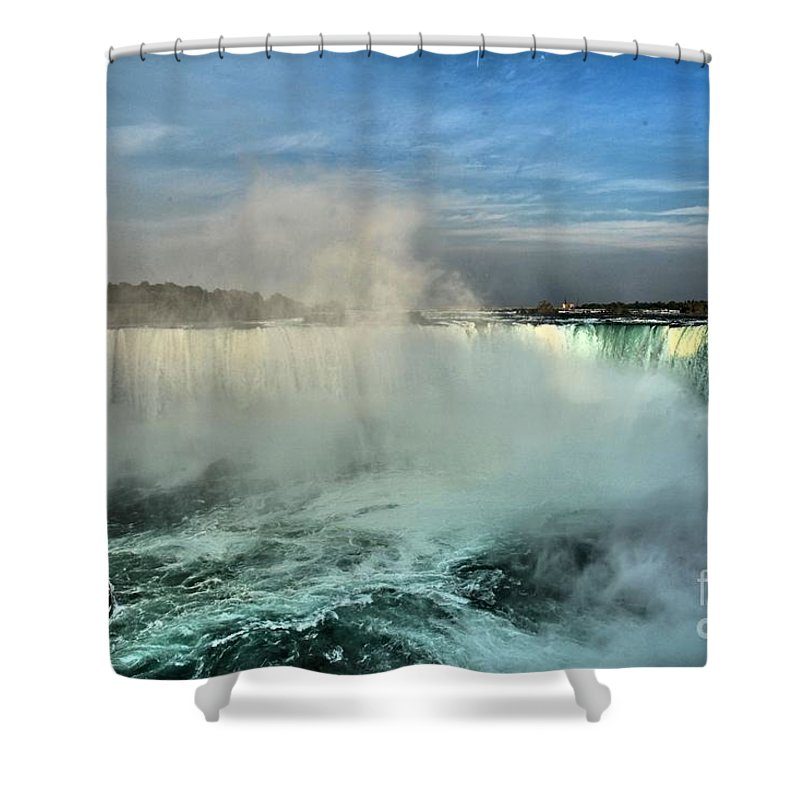 Niagara Falls State Park Shower Curtain featuring the photograph Rainbow Over The Maid by Adam Jewell