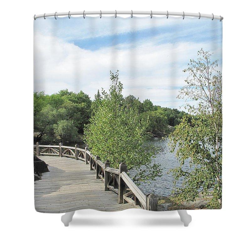 Sudbury Shower Curtain featuring the photograph Ramsey Lake Boardwalk by Ian MacDonald