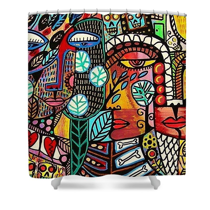 Rebirth Shower Curtain Featuring The Painting Tree Of Life By Sandra Silberzweig